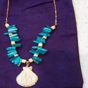 New long aqua turquoise shell necklace!